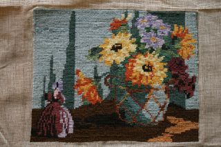 Vintage Completed Tapestry,  Crinoline Lady Ornament & Jug Autumn Flowers photo