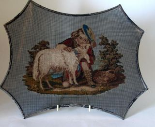 Antique Victorian ~berlin Wool Work~ Fire Face Screen Tapestry On Wire Mesh photo