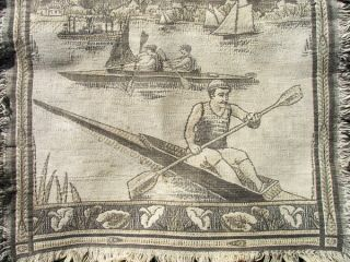 Rare Antique French Woven Tapestry. . .  Sailing Canoes. .  C.  1890 photo