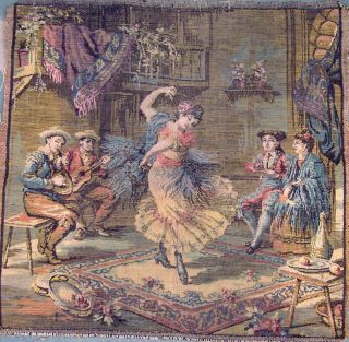 Vintage Antique Woven Art Tapestry Scene Wall Hanging photo