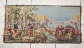 Antique/vintage Belgian Woven Tapestry Venice Quay Victorian Scene 40.  5