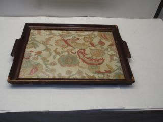 Antique Flower Needlework Tapestry Glass & Wood Tray Nr photo