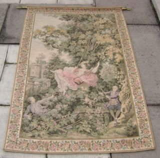 Semi Antique French Needlework Tapestry Wall Hanging photo