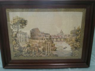 Antique Roman Coliseum Tapestry Framed Roma 18