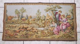 Antique/vintage Woven Tapestry Boucher Courting Rural Scene 37