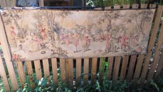 Antique French Large Thick - Weave Noblemen & Women Dogs Garden 23 X 69 Ins. photo