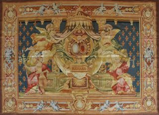French Handwoven Aubusson Tapestry Wool & Silk 85