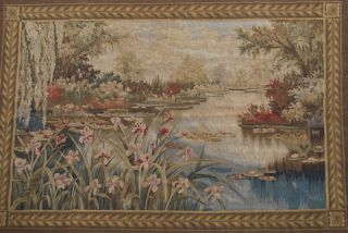 Hand Woven French Aubusson Tapestry,  Lotus Pond,  Wool,  Full Backing,  Easy Hang photo