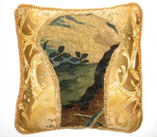 A Pillow With Antique Verdure Tapestry photo