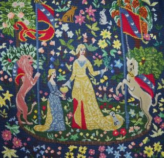 Antique Vintage Completely Needlepoint Medieval Scene Indigo Tapestry photo