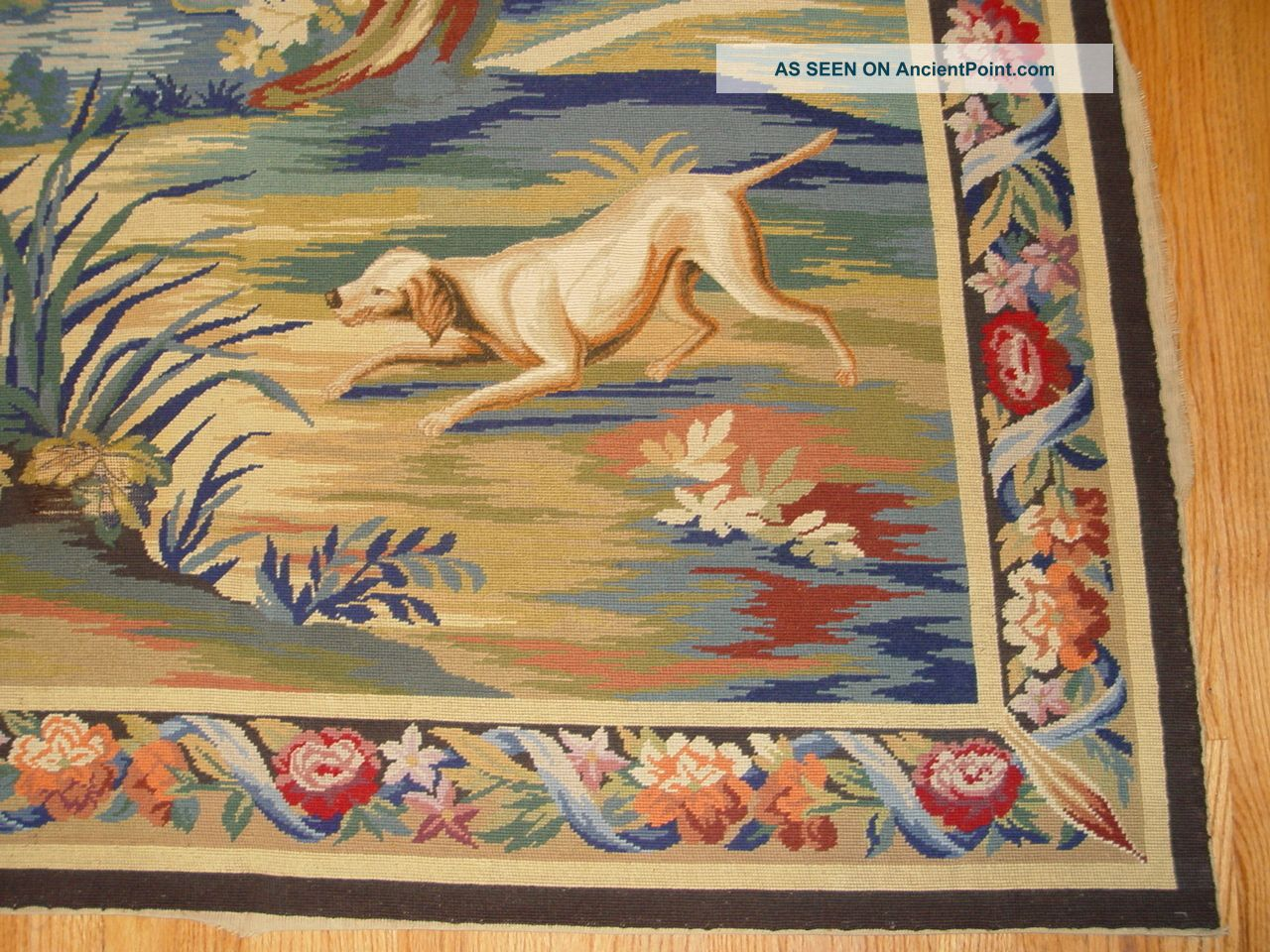 Antique Hand Made Needle Point European Tapestry - (4 ' 8