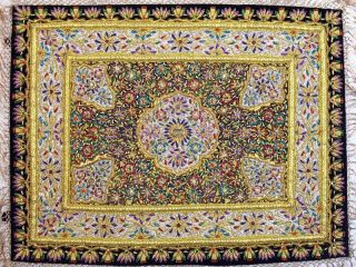 Handmade Precious Jewel Carpet Zardozi Wall Hanging photo