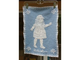 Old Blue Tapestry Antique Doll Picture Dollie Sevens photo