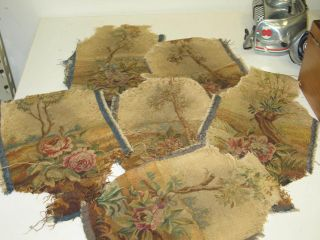 Lot @ 6 Antique French Aubusson Tapestry Arm Rest Pieces Fragments photo