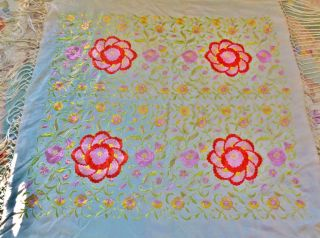 Circa1900 Sage Silk Shawl W/ Embroidered Florals Lovely 16