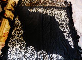 Early Black Silk Paino Shawl / Table Cover W/ Black Silk 11