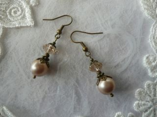 Champagne Debut Pearls Vintage Antique Shabby Topaz Crystal Handmade Earrings photo
