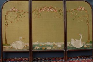 Antique Wood Three - Fold Screen With Floral Needle Work,  Swan Family photo