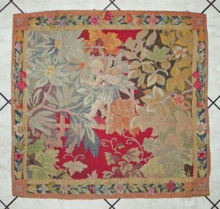 Art Deco French Completely Hand Made Aubusson Style Tapestry 36x34 photo