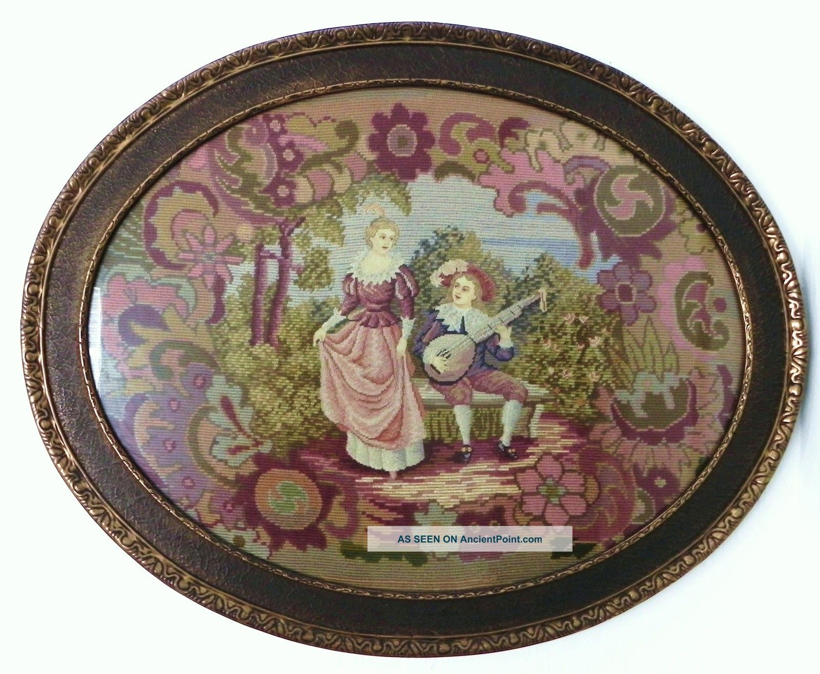 Antique Completely Needlepoint Scenic Oval Tapestry&antique Frame 30x24