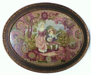 Antique Completely Needlepoint Scenic Oval Tapestry&antique Frame 30x24 photo
