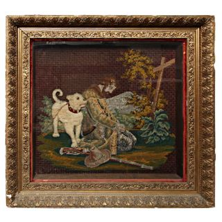 C.  1800 Early American Silk Embroidered Pic - Man & Dog photo