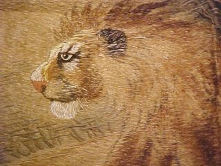 Wonderful Antique Tapestry / Wall Hanging Lion Cira1800s - photo