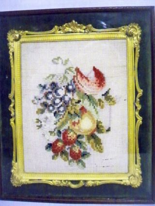 Late 19th Century Floral Tapestry In A Wonderful Gilt,  Leather And Glass Case. photo