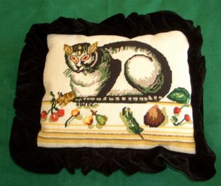 Antique Vintage Needlepoint Pillow Cat Motif Folk Art Circa 1930s Velvet Back photo
