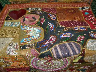 India Sari Tapestry Chocolate Brown Vintage Sari Wall Hanging Throw Table Runner photo