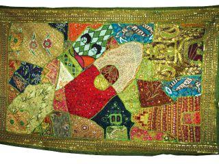 Wall Tapestry Handmade Green Beaded Vintage Sari Large Wall Hanging Throw photo