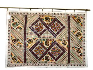 Vintage Sari Mirror Wall Hanging Embroidered Tapestry Throw Home Decor photo