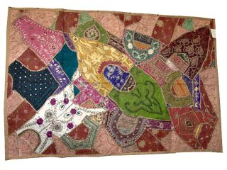 Home Decorative Large Wall Hanging Vintage Beaded Sari Tapestry Throw 60x40 Inch photo