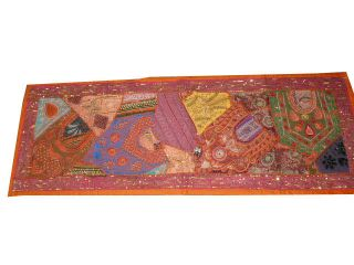 Long Table Runner Decorative India Wall Hanging Orange Pink Wall Tapestry Throw photo