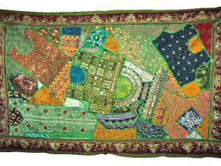 Green Beaded Sari Large Wall Hanging Ethnic Vintage Sari Tapestry Home Decor photo
