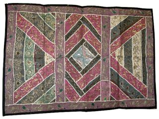 Vintage Sari Wall Hanging Ethnic Beaded Throw Black India Wall Decor Tapestry photo