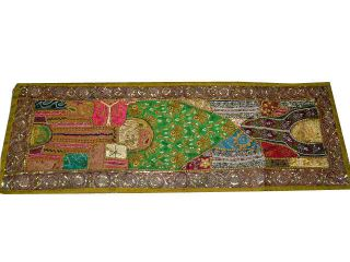 Olive Green Beaded Sequin Sari Wall Hanging Table Runner Wall Tapestry Throw 60