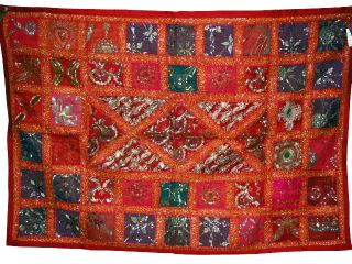 Indian Heavy Beaded Wall Hanging Tapestry Throw Multi - Color Table Runner 60 X 40 photo