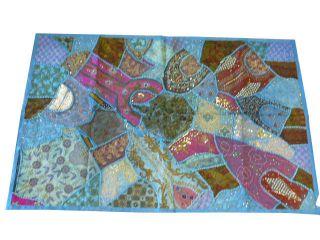 India Wall Decorative Tapestry Wall Hangings Baby Blue Beaded Sari 60x40 Inch photo
