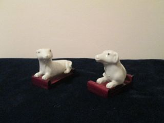 Pair Of 19th Century Chinese Dogs (porcelain) With Stands photo