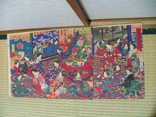 Chikanobu Japanese Woodblock Print Many Geisha photo