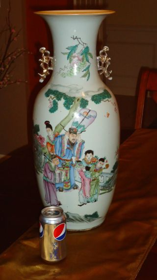 Huge Antique Chinese Porcelain Famille Rose Poem Vase 19th Century Rare photo