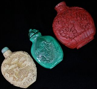 Estate Coll.  3 Chinese Carved Cinnabar White Lacquer Malachite Snuff Bottles photo
