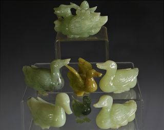 Estate Coll.  7 Finely Carved Chinese Green Spinach Jade Stone Duck Lotus Figures photo