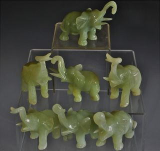 Estate Coll.  7 Chinese Carved Jade Stone Lucky Elephant Figures photo