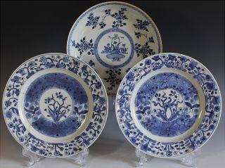 Estate Coll 3 17thc Chinese Kangxi Blue White Scenic Lotus Dish Cabinet Plates photo