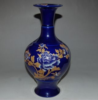 Outstanding Chinese Navy Blue Famille Rose Porcelain Wealth Peony Vases Qianlong photo