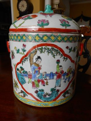 20th C Chinese Ginseng Water Jar Famile Rose Butterfly Boys Foo Dog photo