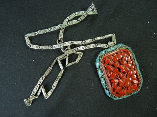 New Listing Antique Cinnabar And Enamel Pendant On Silver Chain,  China photo