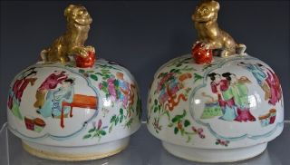 2 Very Fine Chinese Famille Rose Canton Figural Vase Jar Lids Qianlong Jiaqing photo